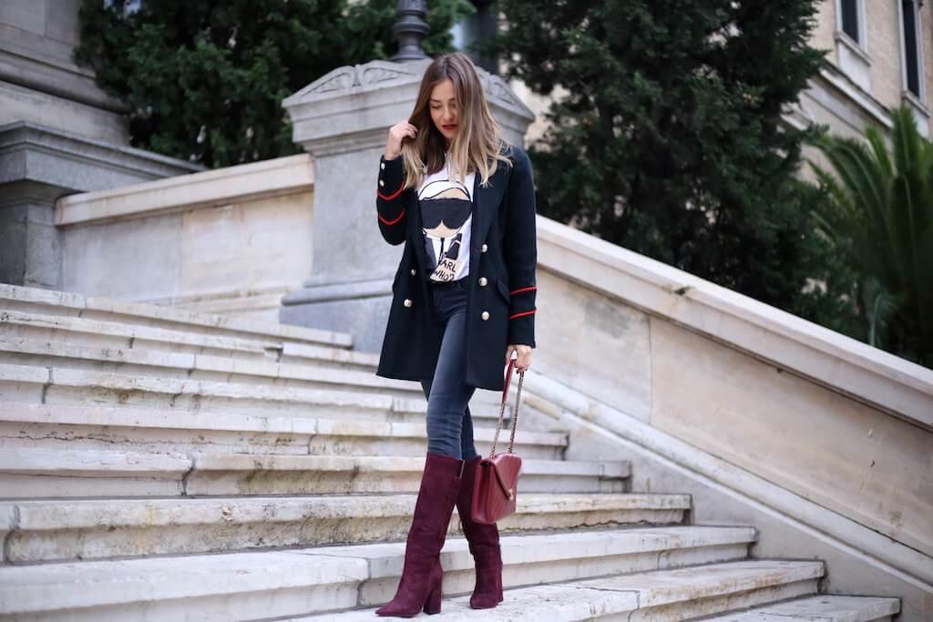 blog de moda pura lopez it girl look botas punta fina y tacon ancho color burdeos