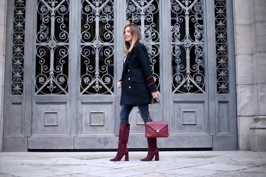 blog tendencias pura lopez botas altas retro color burdeos