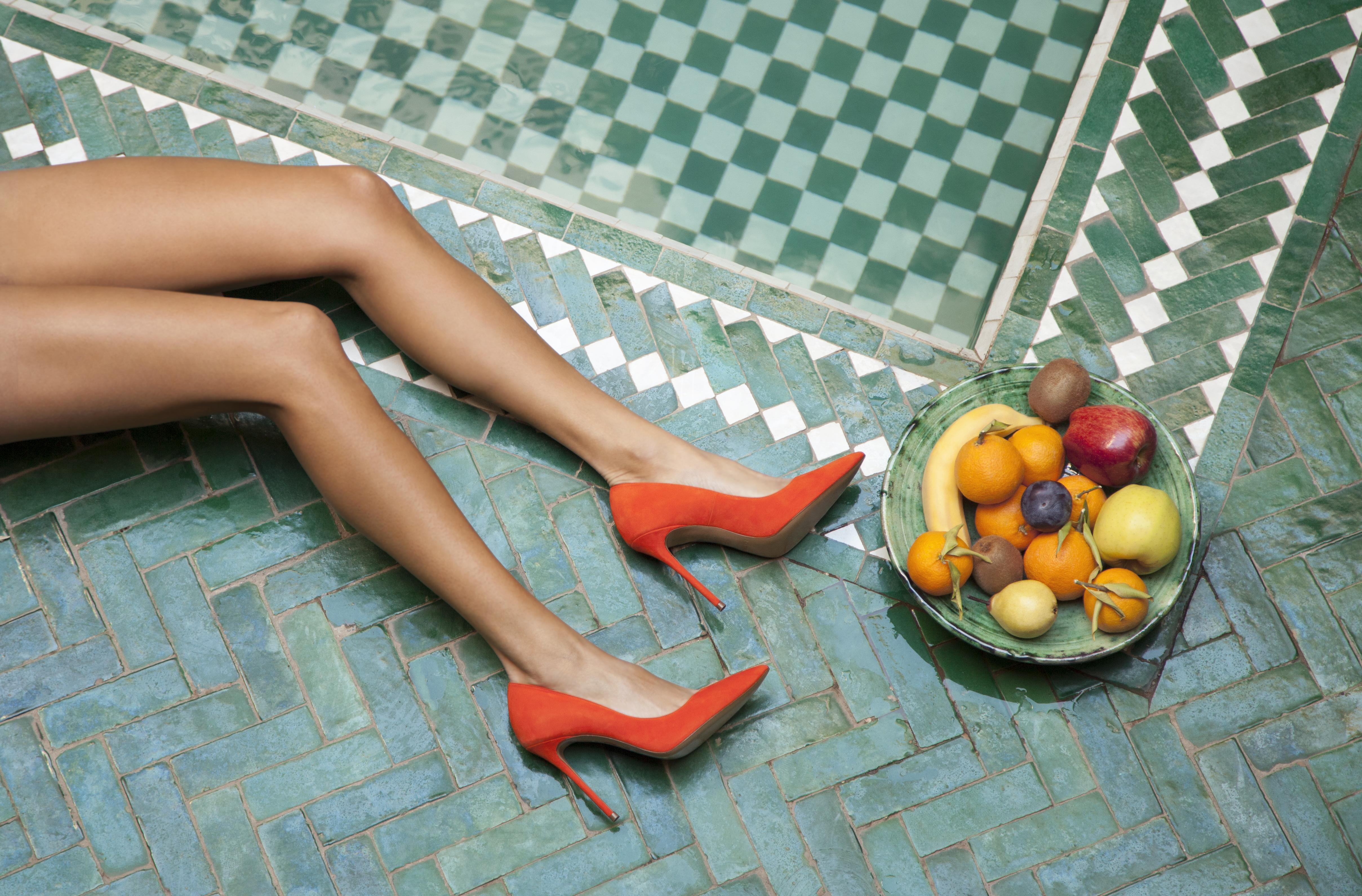 Zapatos de tacón alto en ante naranja