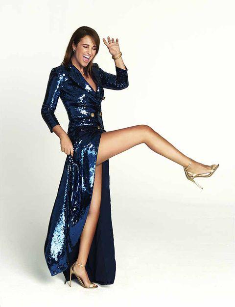 paula echevarria look de fiesta con sandalias pura lopez para cosmopolitan