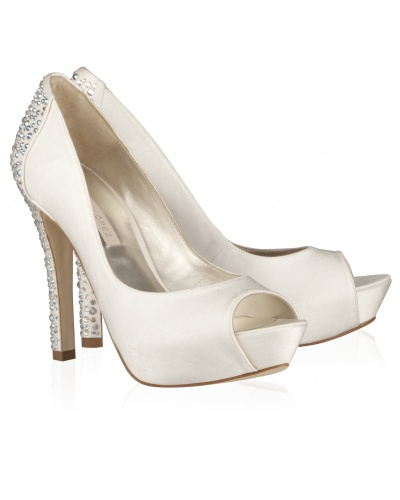 Swarovski crystal-embellished peep toe in offwhite satin