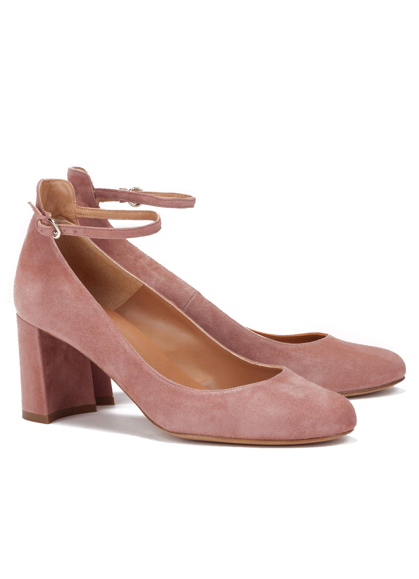 eebd882d52de Mid heel shoes in pink suede - online shoe store Pura Lopez . PURA LOPEZ