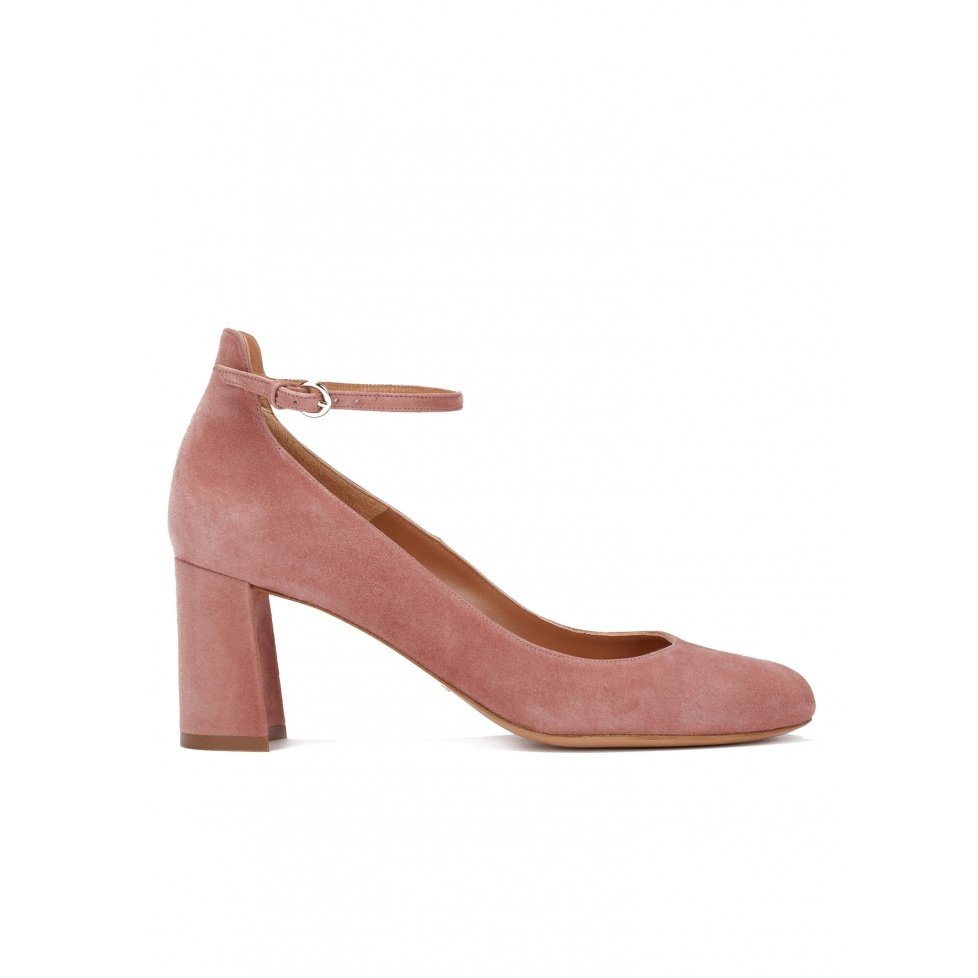 Ankle strap mid heel shoes in pink suede