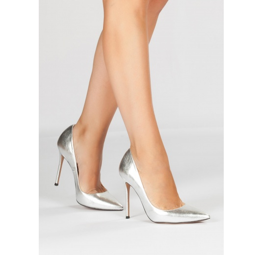 edb6ce063 ... Silver leather heeled pumps Pura L pez