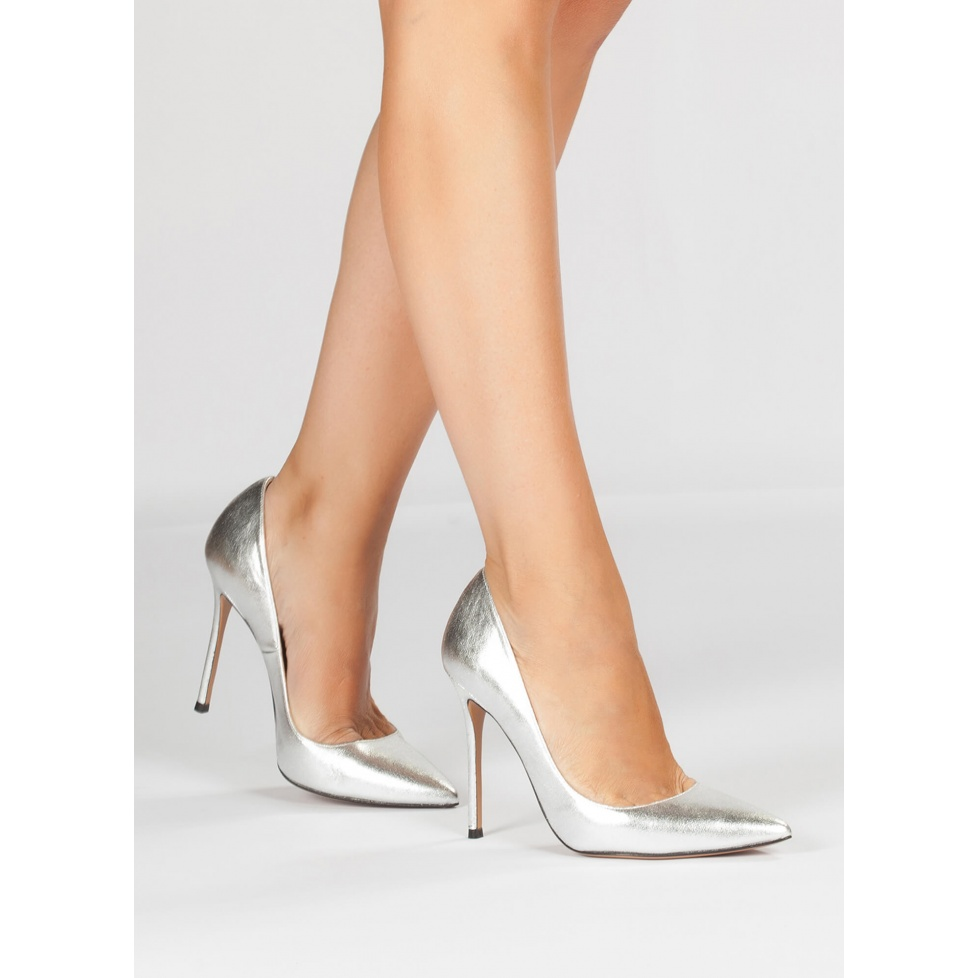 Silver stiletto pumps - online shoe store Pura Lopez