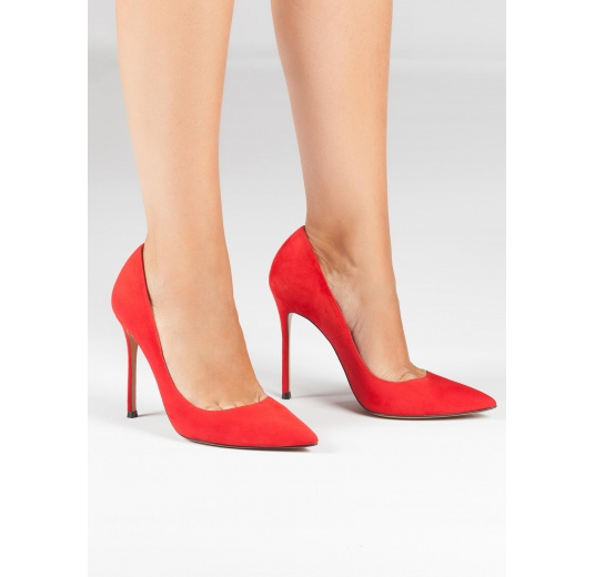 Red suede pointy toe stiletto pumps Pura López