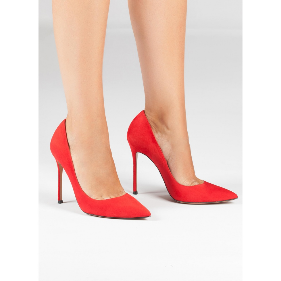 Red suede point-toe stiletto heel pumps