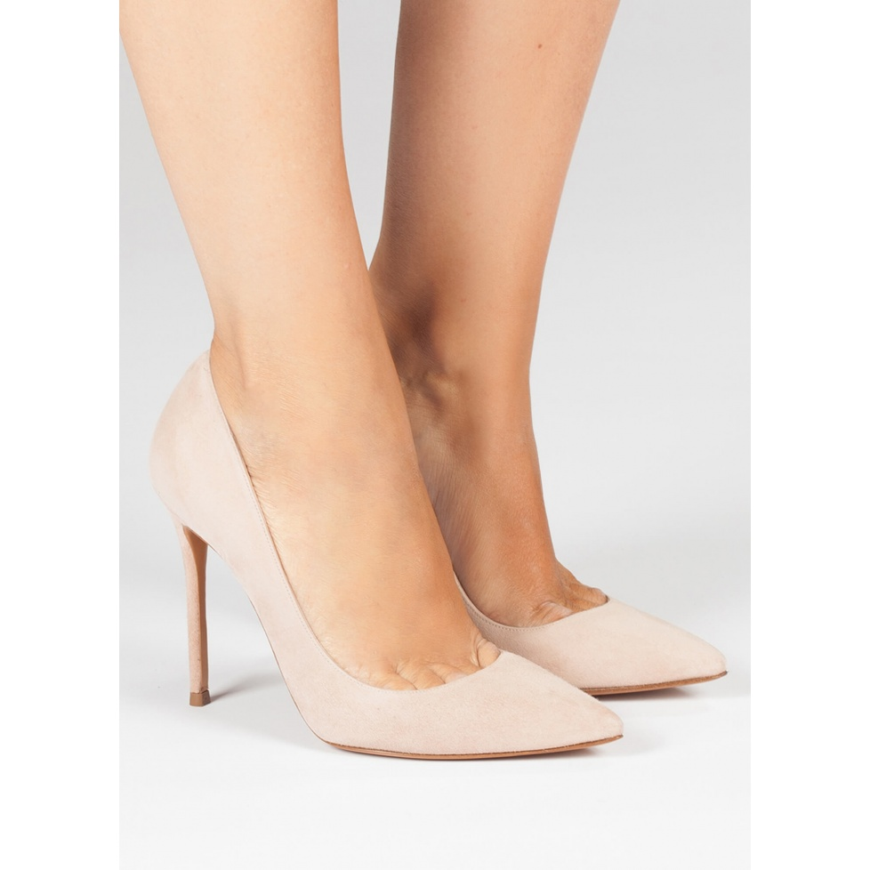 High heel pumps in nude suede - online shoe store Pura Lopez