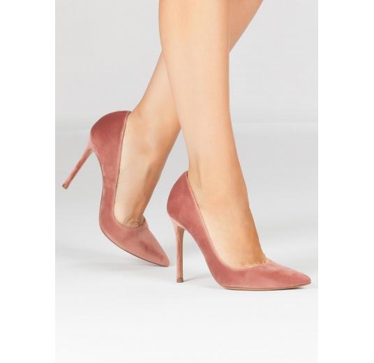 Zapatos de terciopelo nude con tacón alto y punta fina Pura L�pez