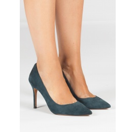 Petrol blue suede pointy toe pumps Pura López