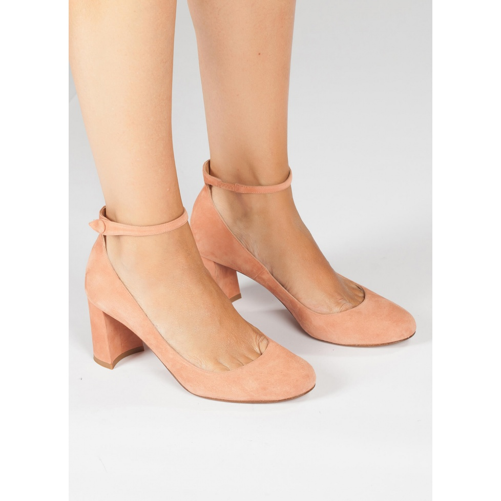 Mid heel shoes in old rose suede - online shoe store Pura Lopez