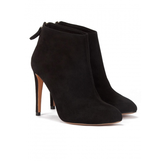 High stiletto heel almond toe ankle boots in black suede Pura L�pez