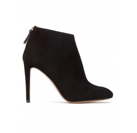High stiletto heel almond toe ankle boots in black suede Pura López