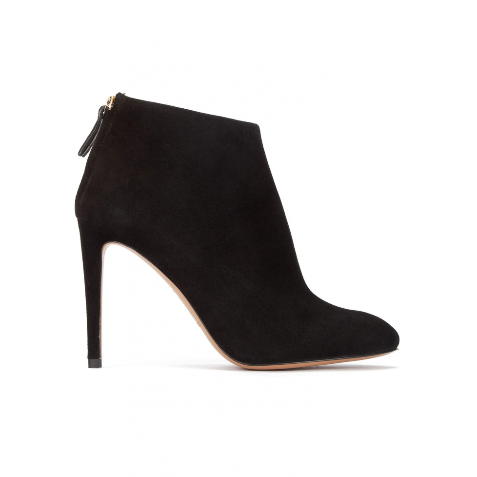 High stiletto heel almond toe ankle boots in black suede