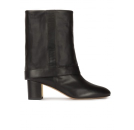 Folded 60mm block heel boots in black nappa leather Pura López