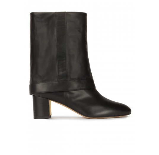 Folded 60mm block heel boots in black nappa leather Pura L�pez