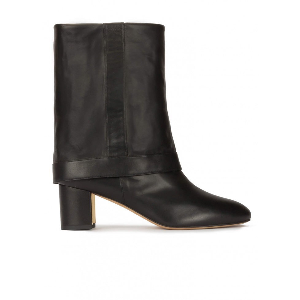 Folded 60mm block heel boots in black nappa leather
