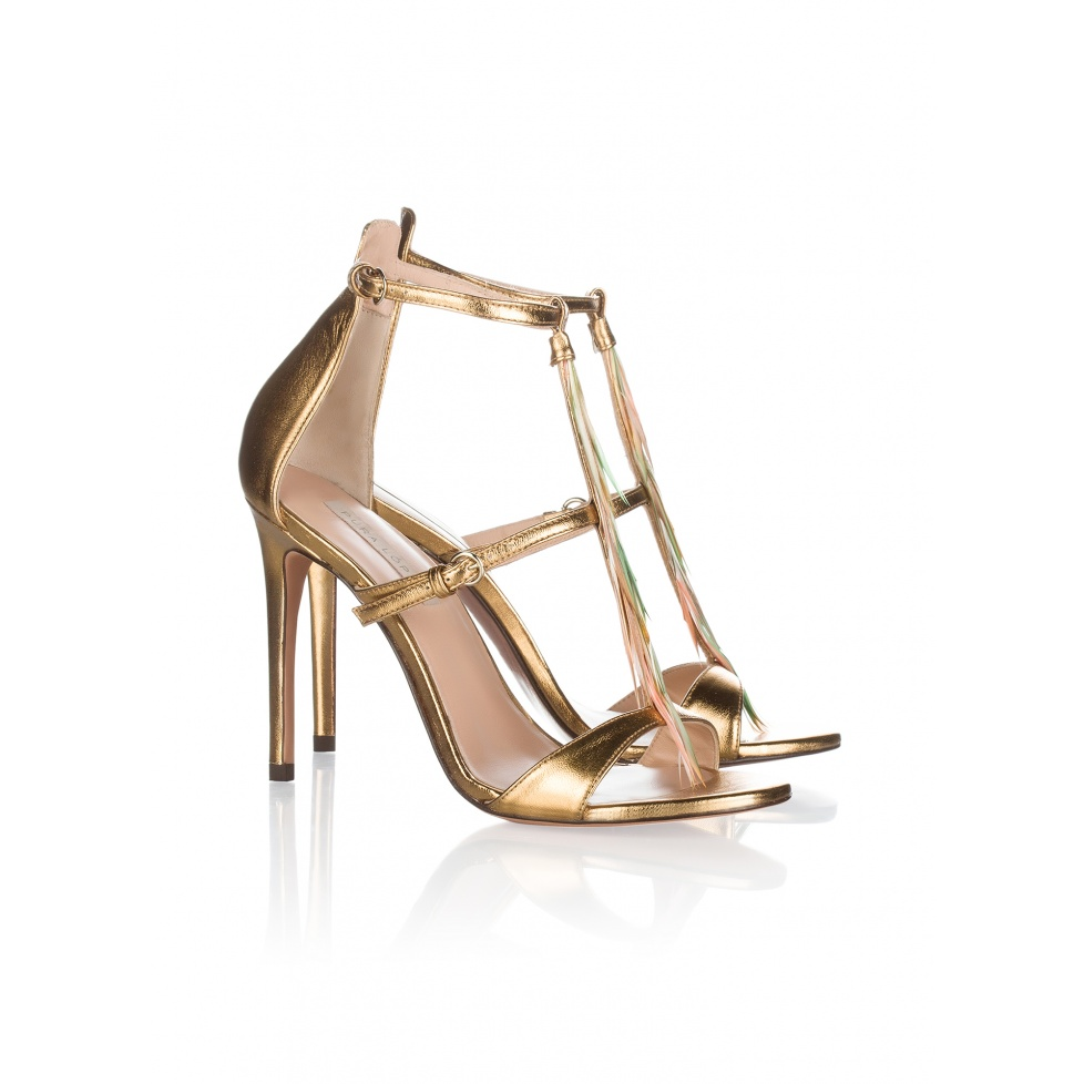 Pura Lopez feather detailed high heel sandals in gold leather