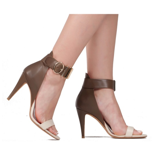 Two-tone ankle strap high heel sandals in leather Pura L�pez