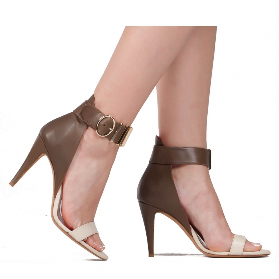 Two-tone high heel sandals - online shoe store Pura Lopez