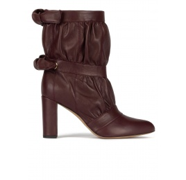 High block heel point-toe ankle boots in burgundy nappa Pura López