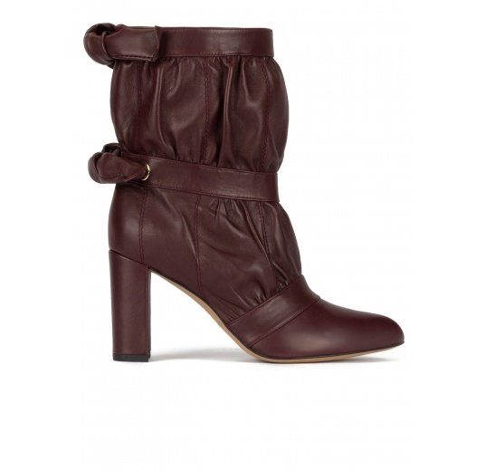 High block heel point-toe ankle boots in burgundy nappa Pura L�pez