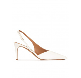 Mid-heel pointed toe slingback shoes in off-white leather Pura López