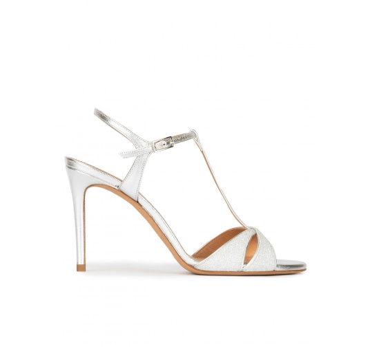 Silver heeled sandals in glitter and metallic leather Pura López