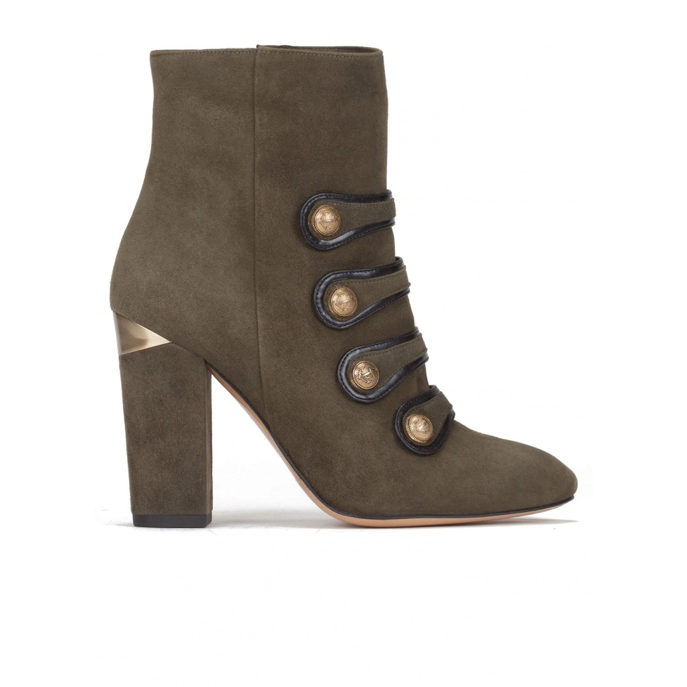 High block heel ankle boots in military green suede