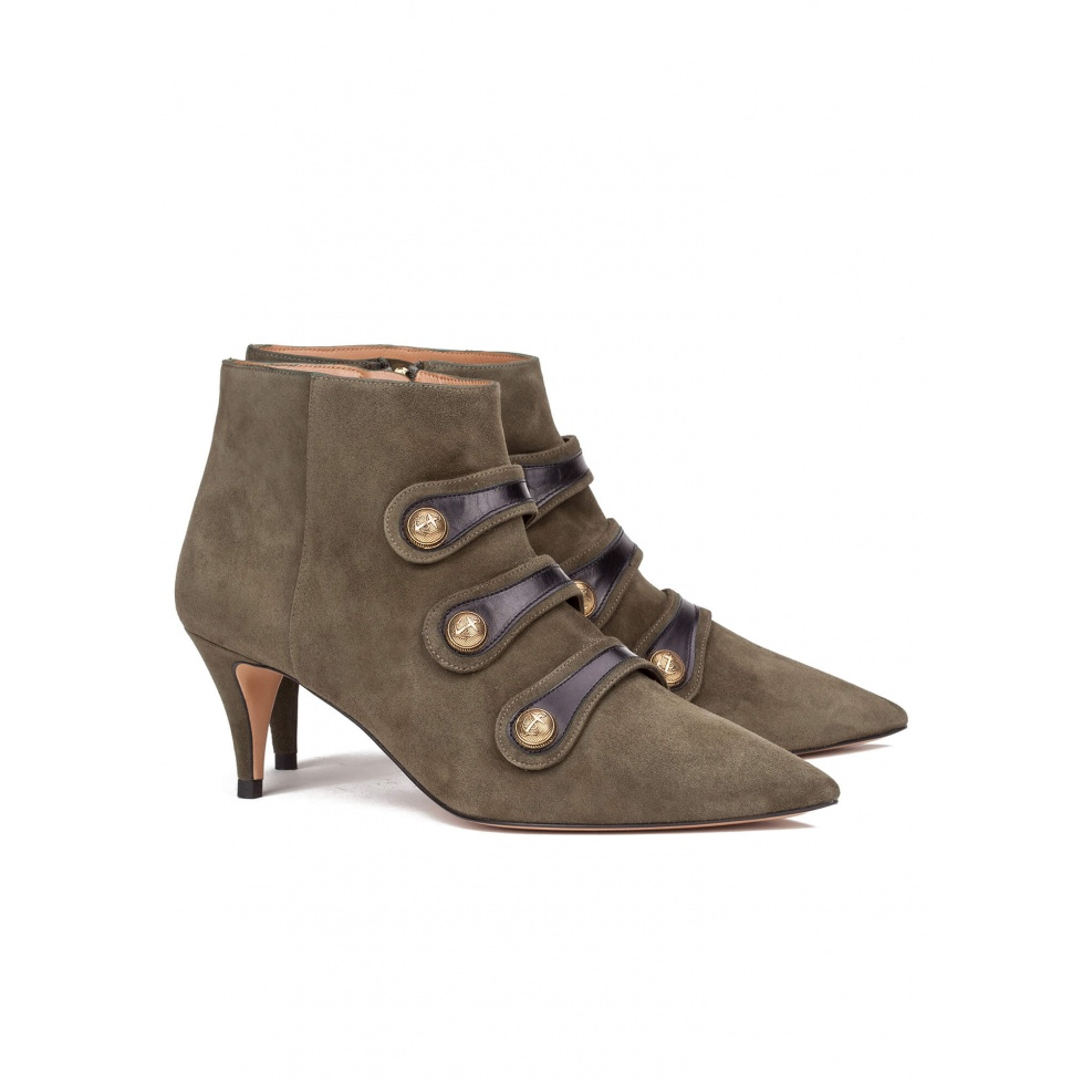 Army green mid heel ankle boots - online shoe store Pura Lopez