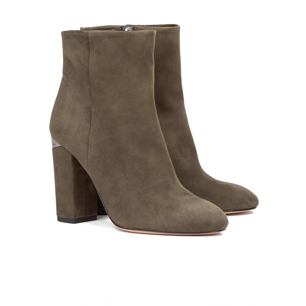 Green high block heel ankle boots - online shoe store Pura Lopez