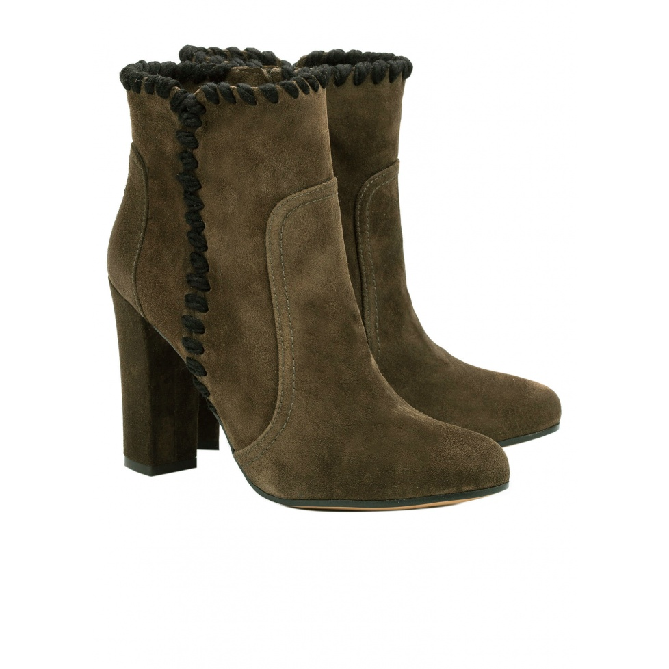 Army green high heel ankle boots - online shoe store Pura Lopez