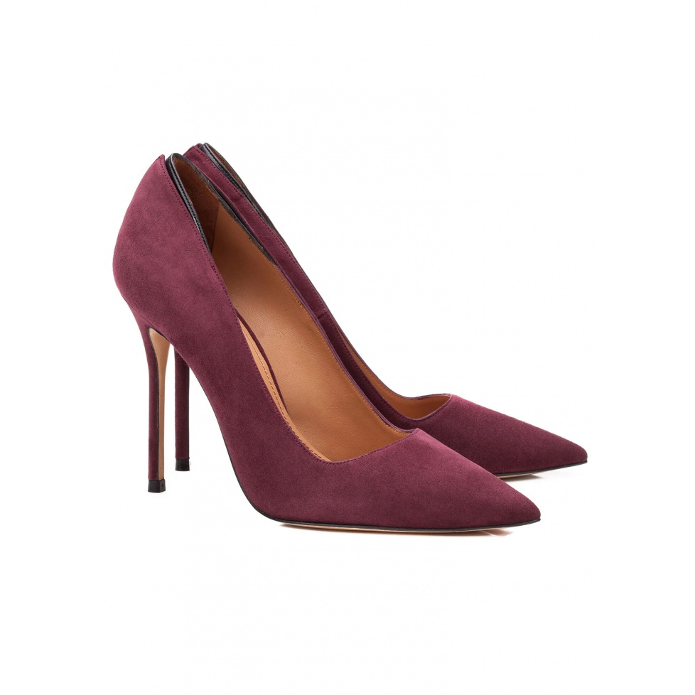 High heel pumps in aubergine suede - online shoe store Pura Lopez