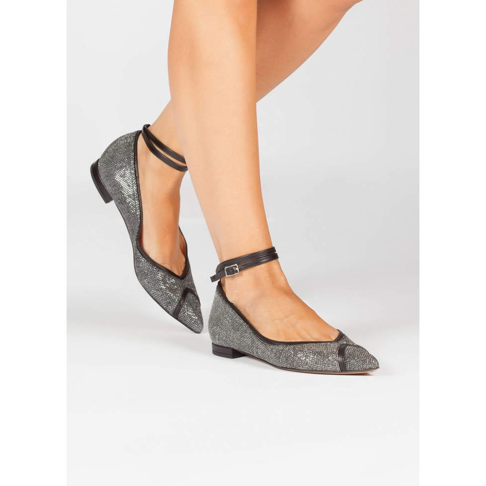 Metallic ankle strap point toe flats - online shoe store Pura Lopez