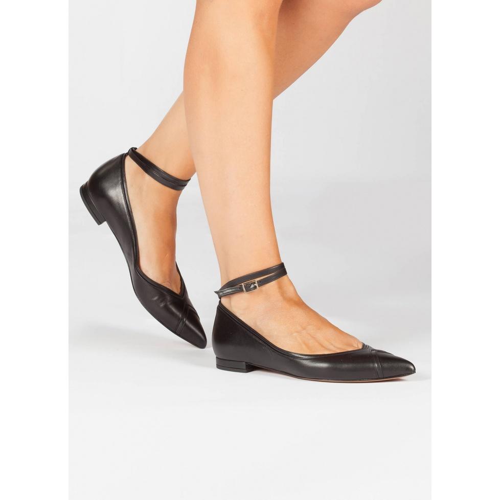 Black ankle strap point toe flats - online shoe store Pura Lopez