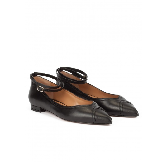 Ankle strap point-toe flats in black leather Pura L�pez