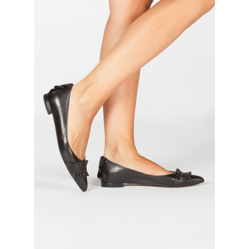 Black ruffled ankle point toe flats - online shoe store Pura Lopez