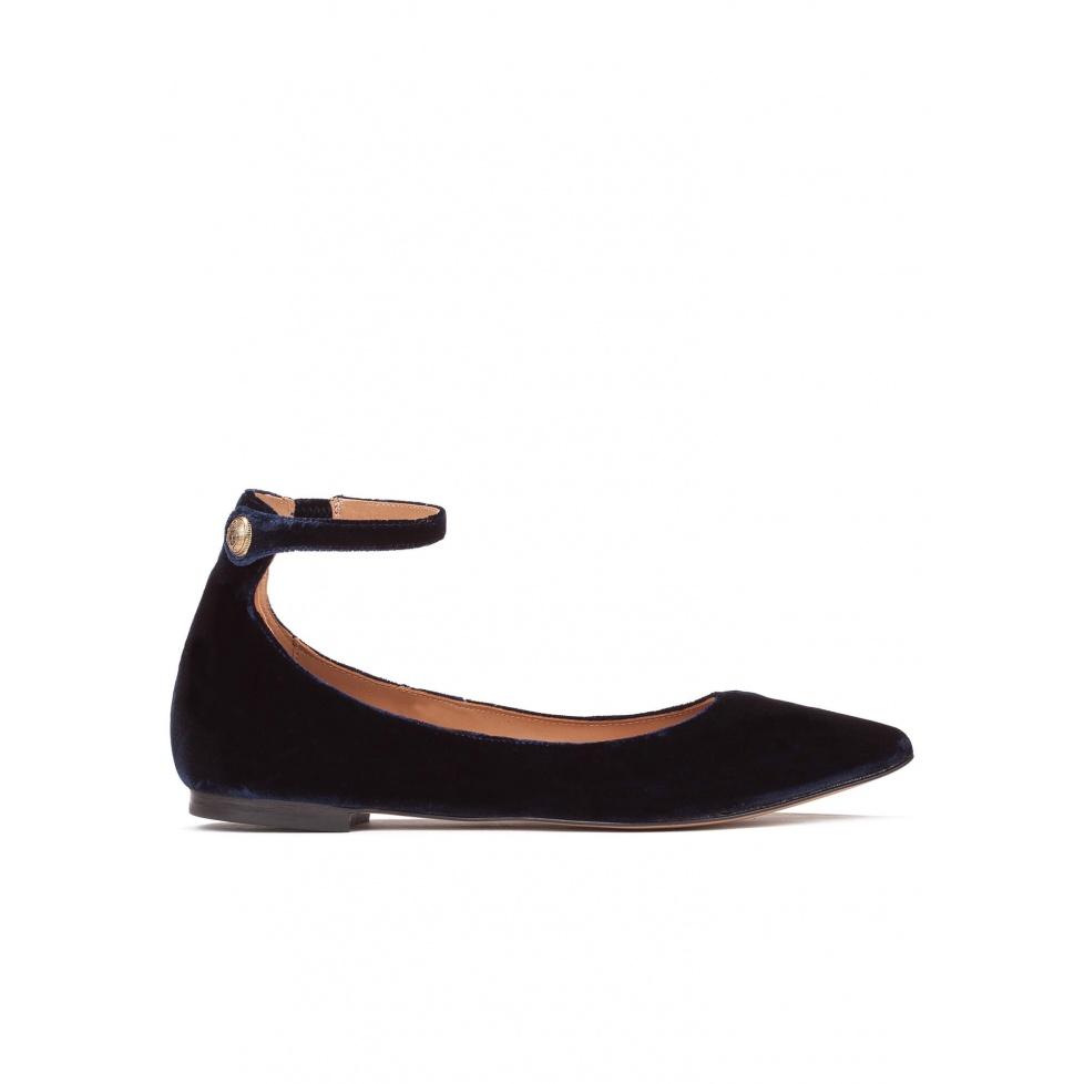 Ankle strap point-toe flats in night blue velvet