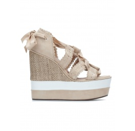 Sand lace-up high wedge sandals Pura López