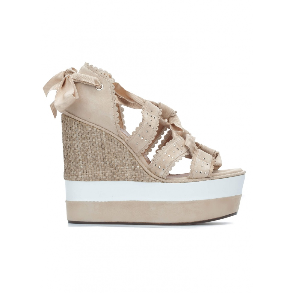 Sand lace-up high wedge sandals