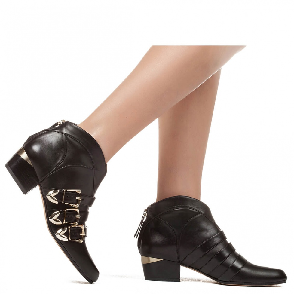 Mid heel ankle boot in black leather - online shoe store Pura Lopez