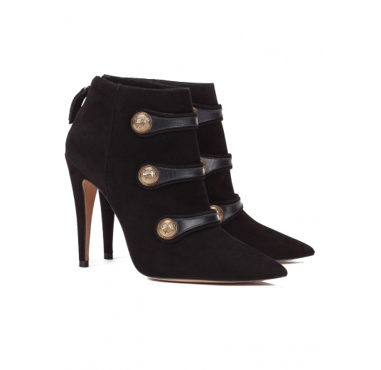 Button detailed high heel ankle boots in black suede Pura L�pez