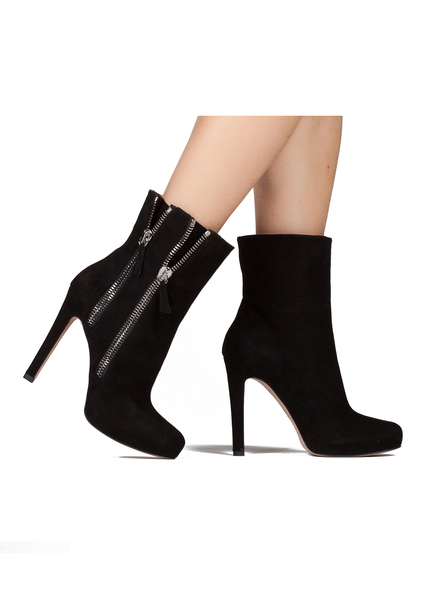 high heel ankle boots in black suede shoe store