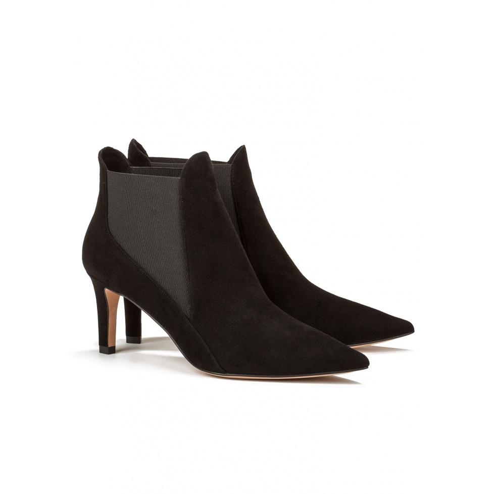 Mid heel ankle boots in black suede - online shoe store Pura Lopez