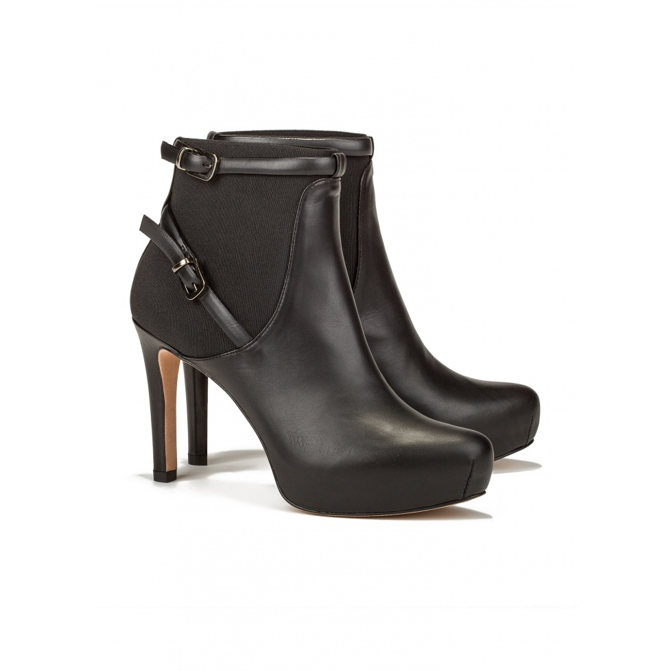 Mid heel ankle boots in black leather -online shoe store Pura Lopez