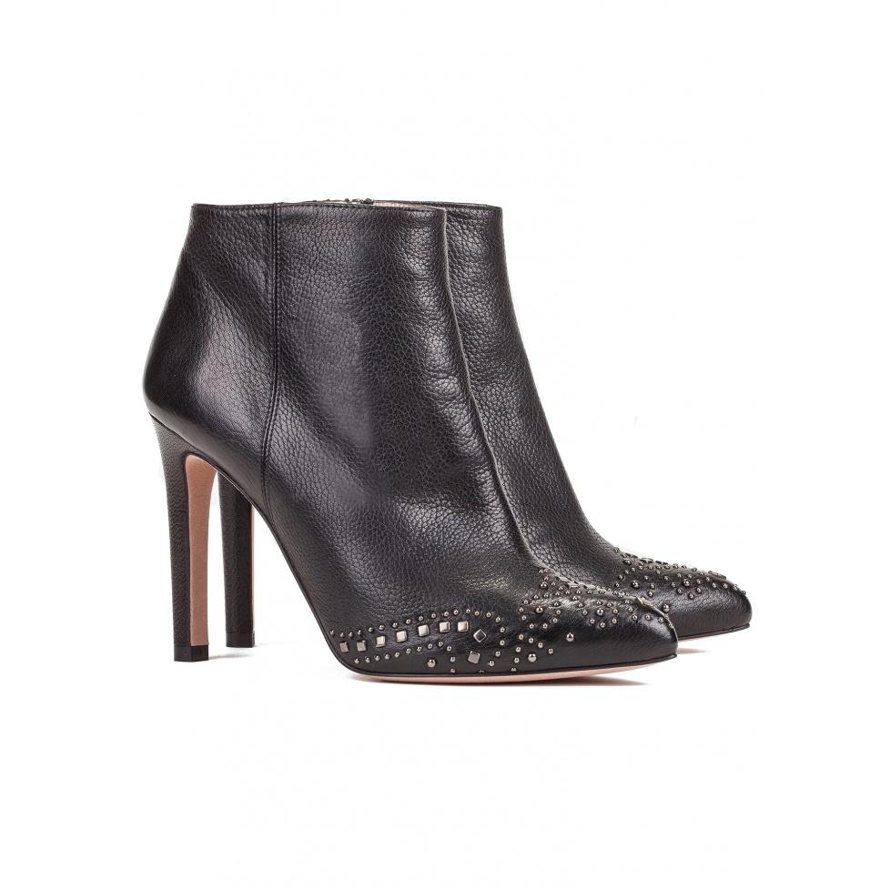 Botines negros de tacón alto en piel - tienda de zapatos Pura López