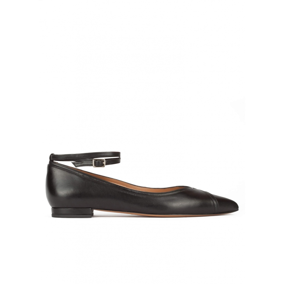 Ankle strap point-toe flats in black leather