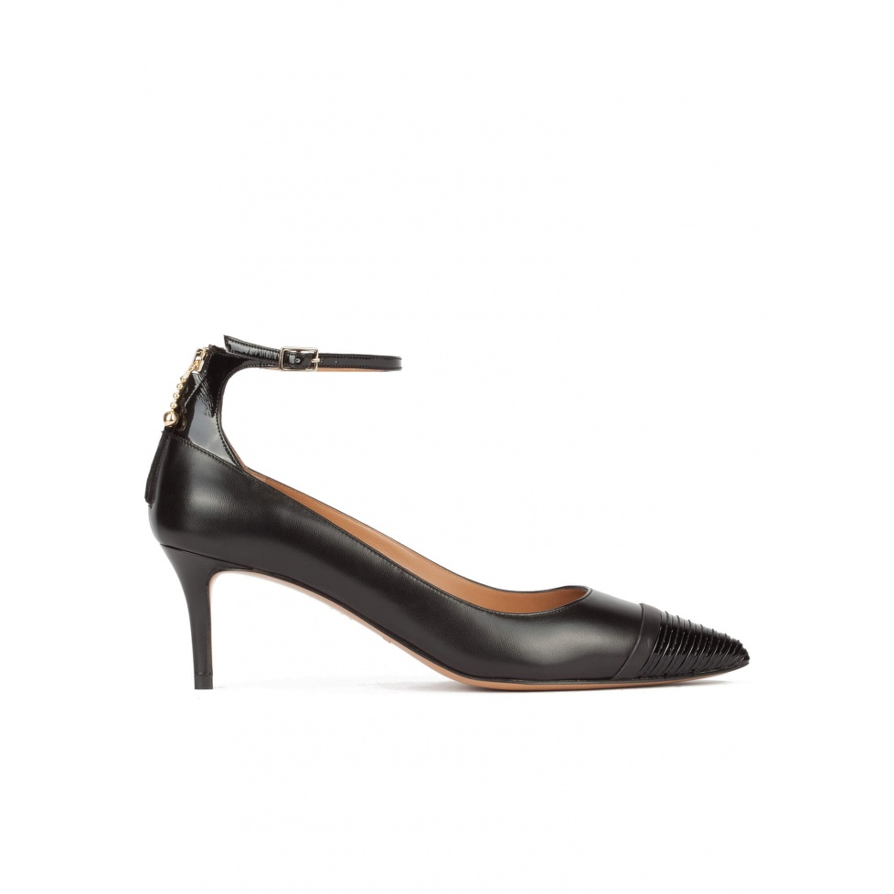 Ankle strap point-toe mid heel pumps in black leather