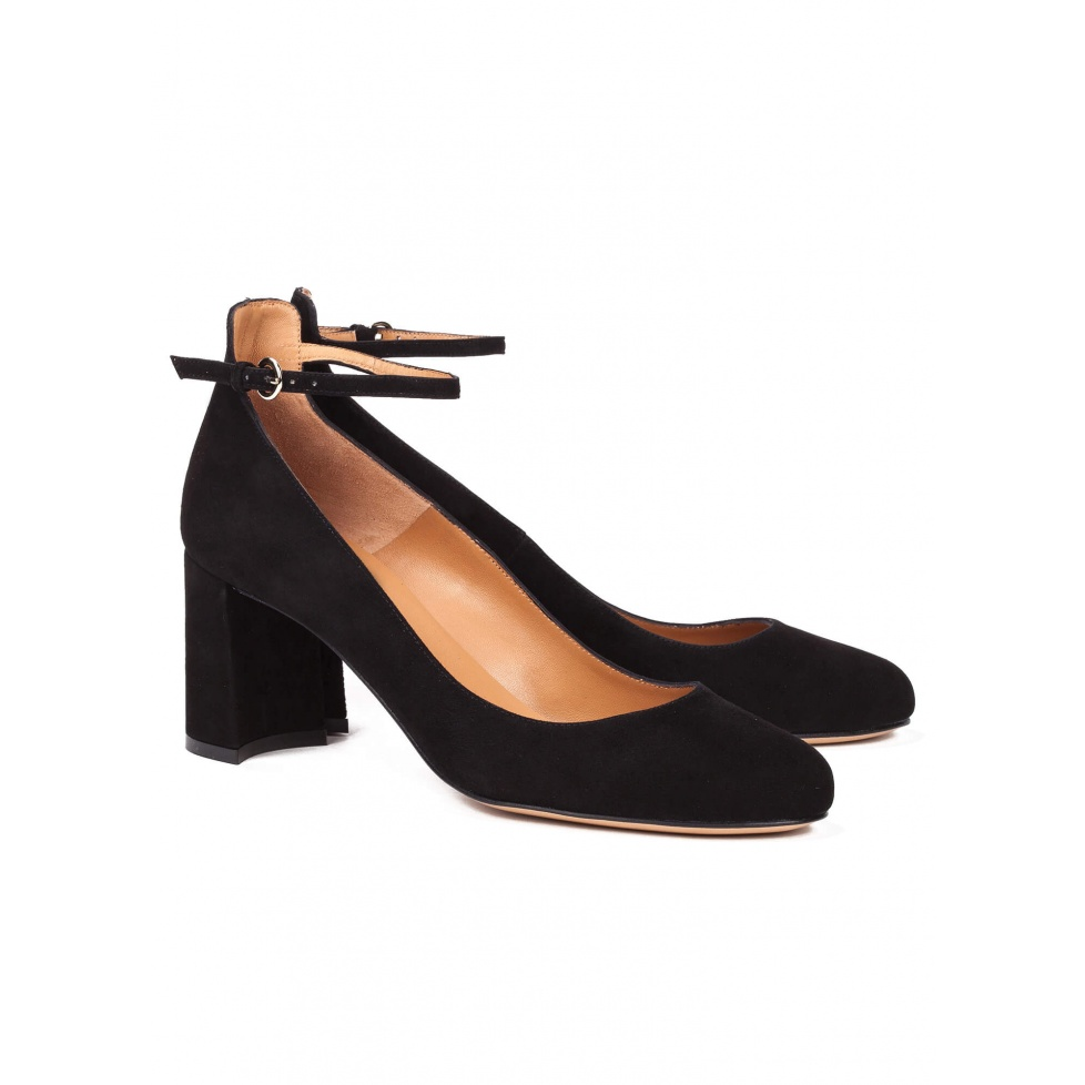 Mid heel shoes in black suede - online shoe store Pura Lopez