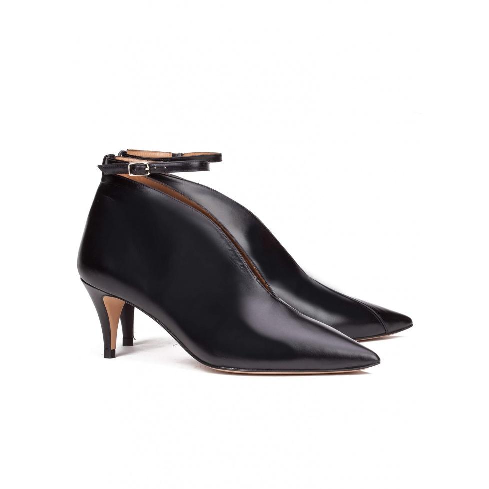 Black ankle strap mid heel pumps - online shoe store Pura Lopez
